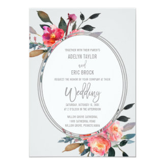 Modern Gray | Winter Flower Wreath Wedding Card