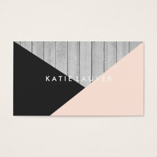 Modern gray wood cute peach black color block chic business card