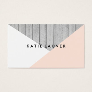 Modern gray wood cute peach white color block chic business card