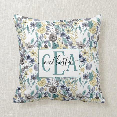 Modern Gray Yellow Floral Watercolor Monogram Throw Pillow