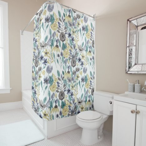 Modern Gray Yellow Floral Watercolor Pattern Shower Curtain