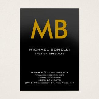 Modern gray yellow trendy monogram business card