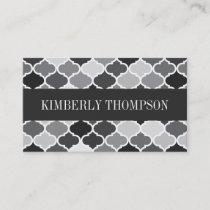 Modern Grayscale Quatrefoil Business Card
