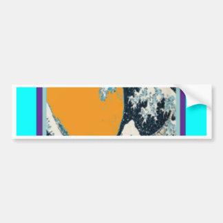 Modern Great Wave in orange Pillow by SHARLES Bumper Sticker