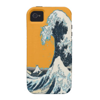 Modern Great Wave in orange Pillow by SHARLES Case-Mate iPhone 4 Cover