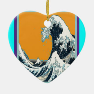 Modern Great Wave in orange Pillow by SHARLES Ceramic Ornament