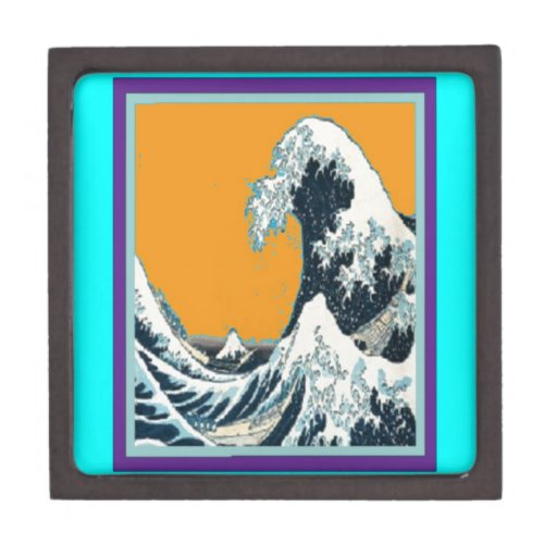 Modern Great Wave in orange Pillow by SHARLES Premium Jewelry Box
