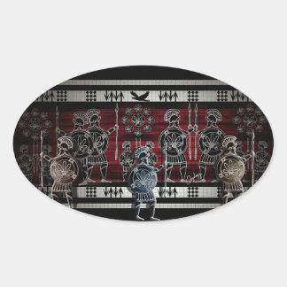 Modern Greek Black Figure Oval Sticker