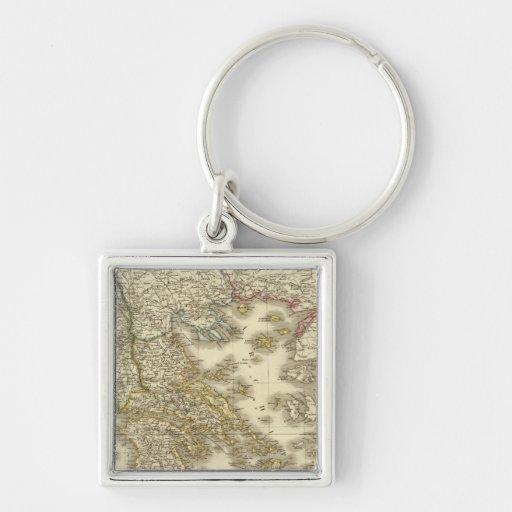 Modern Greek Islands, Albania, Macedonia Silver-Colored Square Keychain