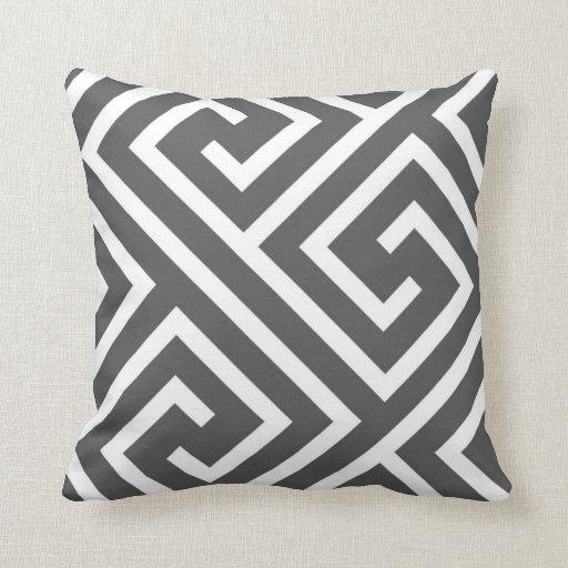Modern White Pillow : Modern Greek Key Pattern in Charcoal and White Throw Pillow Zazzle