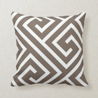 Modern Greek Key Pattern in Taupe and White Throw Pillow