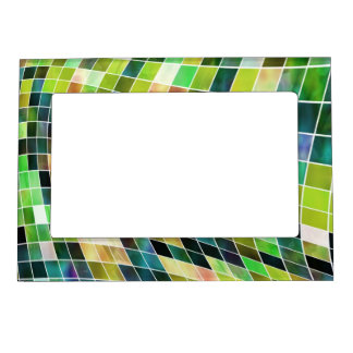 Modern Green Abstract Magnetic Frame Frame Magnets
