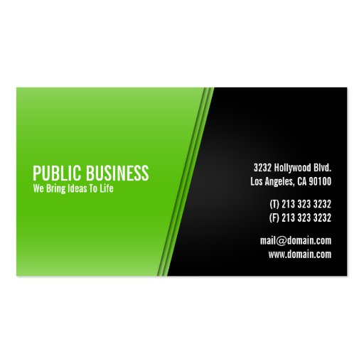 Modern Green and Black Business Card