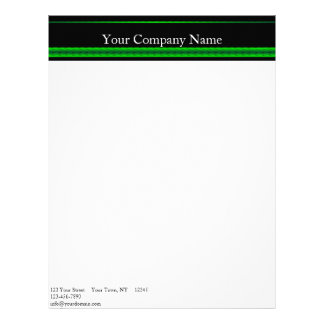 Modern Green and Black Racing Stripe Letterhead