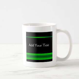 Modern Green and Black Racing Stripe Coffee Mugs