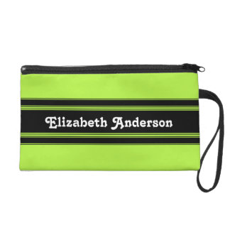 Modern Green and Black Racing Stripes With Name Wristlet Purse