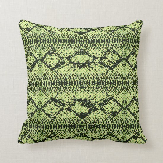 Modern Green and Black Snakeskin Pattern Throw Pillow