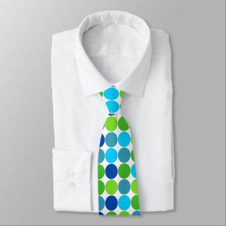 Modern Green and Blue Polka Dot Pattern Neck Tie