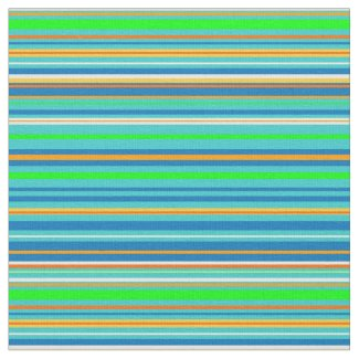 Modern Green and Blue Stripe Fabric