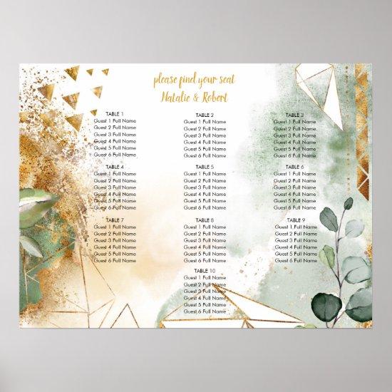 Modern Green and Gold Botanical Crystals Wedding Poster