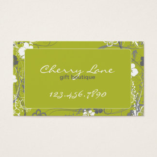 Modern Green and Gray Floral Business Card