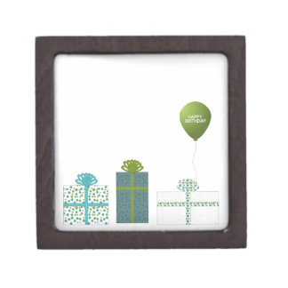 Modern Green and Turquoise Happy Birthday Jewelry Box