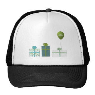 Modern Green and Turquoise Happy Birthday Trucker Hat