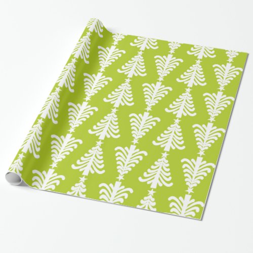 Modern Green And White Christmas Trees Pattern Wrapping Paper