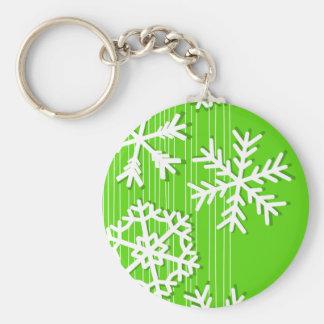 Modern green and white Christmas white snowflakes Keychain