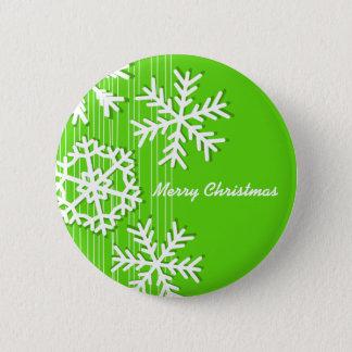 Modern green and white Christmas white snowflakes Pinback Button