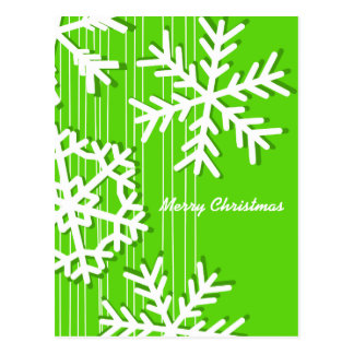 Modern green and white Christmas white snowflakes Post Card