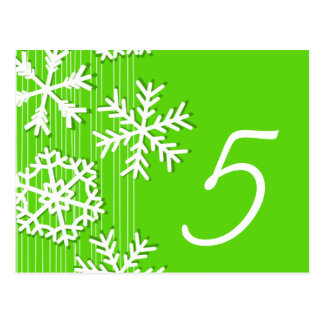 Modern green and white Christmas white snowflakes Post Cards