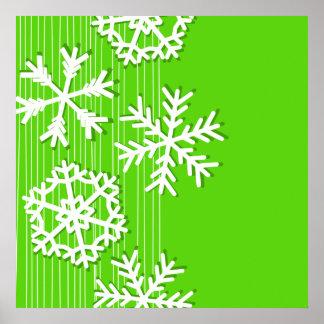 Modern green and white Christmas white snowflakes Poster