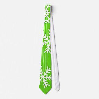 Modern green and white Christmas white snowflakes Tie