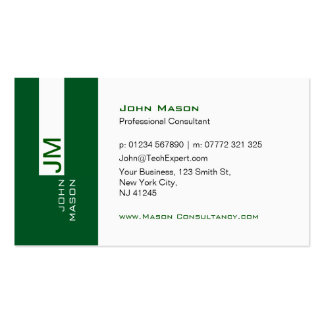 Modern Green and White Consultant - Business Card