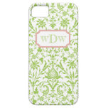Modern Green and White Damask and Dusty Pink Frame iPhone 5 Cover