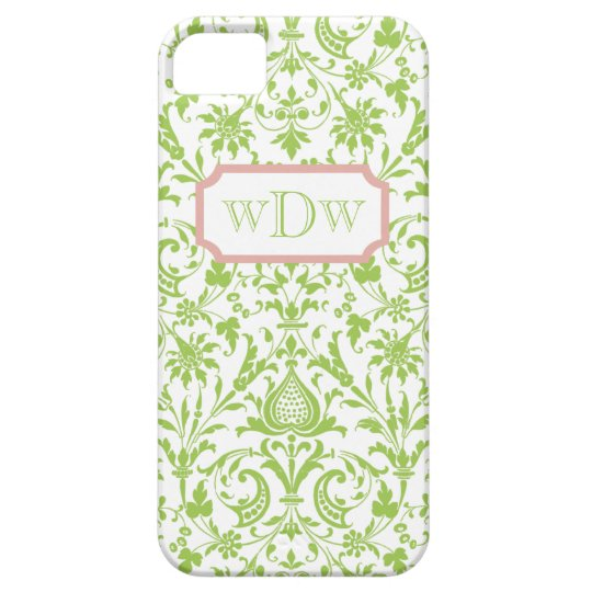 Modern Green and White Damask and Dusty Pink Frame iPhone SE/5/5s Case