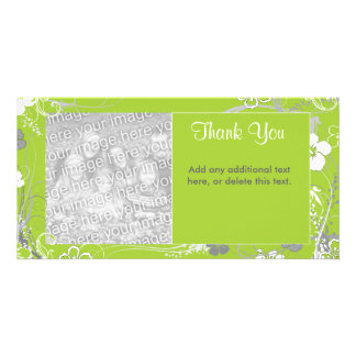 Modern Green and White Floral Photocard Card