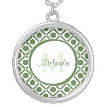 Modern Green and White Geometric Monogrammed Name Silver Plated Necklace