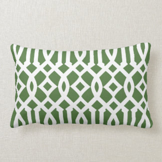 Modern Green and White Imperial Trellis Pillow