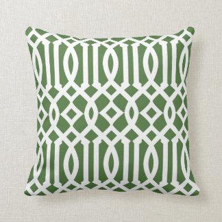 Modern Green and White Imperial Trellis Throw Pillow