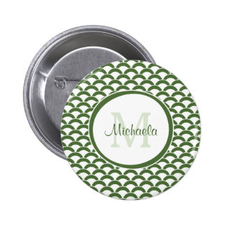 Modern Green and White Scallops Monogram and Name Button