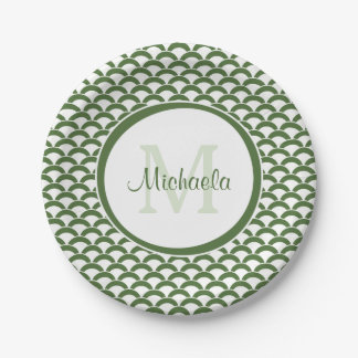 Modern Green and White Scallops Monogram and Name Paper Plate