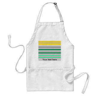 Modern green and yellow horizontal stripes adult apron
