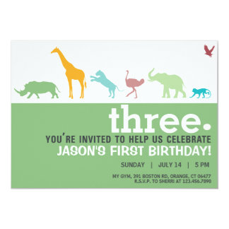 Modern Green Animal Silhouette Birthday Invite