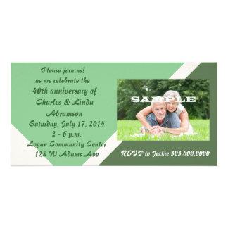 Modern Green Anniversary Celebration Photo Card