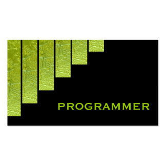 Modern green, black vertical stripes programmer Double-Sided standard business cards (Pack of 100)