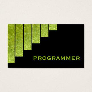 Modern green, black vertical stripes programmer business card