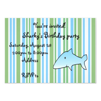 Modern green,blue and white stripes with cute blue personalized invites