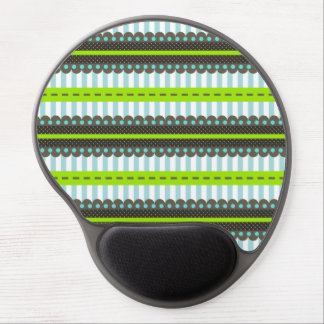 Modern Green, Blue, Brown Stripes & Dots Pattern Gel Mouse Pad